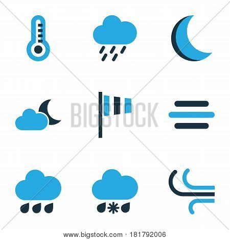 Climate Colored Icons Set. Collection Of Night, Cold Weather, Wind Speed And Other Elements. Also Includes Symbols Such As Thermostat, Drizzle, Moonshine.