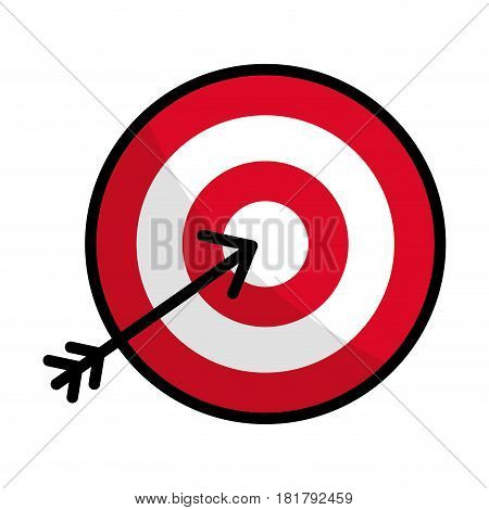 flat line icon arrow hitting a target, vector illustration