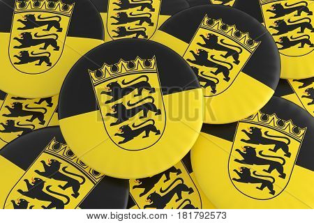 German States Badges: Pile of Baden-Württemberg Flag Buttons 3d illustration