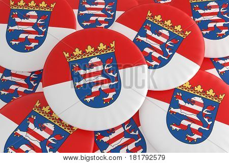 German States Badges: Pile of Hesse Flag Buttons 3d illustration
