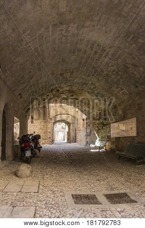 17TH FEBRUARY 2017, RHODES, GREECE - Covered arched passage in the medieval town of Rhodes Greece