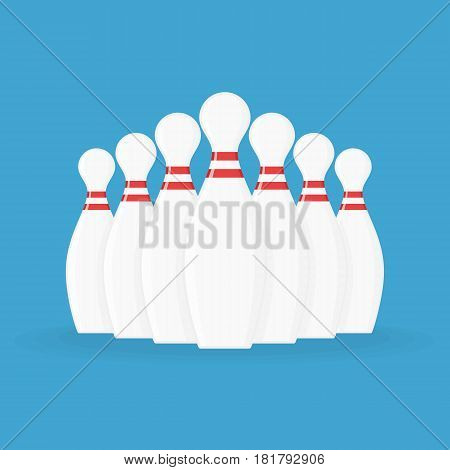 Bowling pins isolated on blue background. Vector illustration in modern flat style. Game concept. EPS 10.