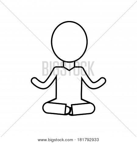 line mental health pictogram meditation, vector illustration