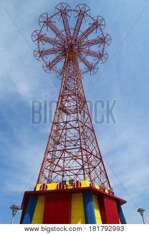 BROOKLYN, NEW YORK - APRIL 13, 2017: Parachute jump tower - famous Coney Island landmark in Brooklyn. It has been called the