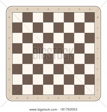 Wooden chess board with numbers and letters. Checkered brown chessboard in flat style. Vector illustration. EPS 10.