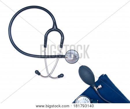 Stethoscope and sphygmomanometer isolated on white background