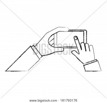 hands user smartphone icon vector illustration design