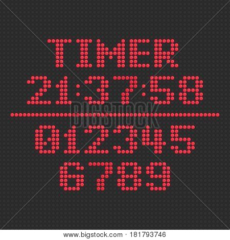 Electronic figures. LED display timer. Light red dial isolated on a black background. Numbers set for digital watch, information board and other electronic devices. Vector illustration. EPS 10.