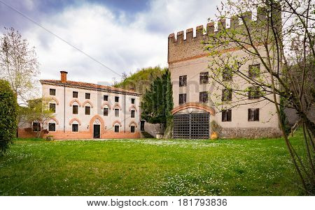 Vicenza Italy - April 1 2016: Ancient fortified building in the Italian countryside.