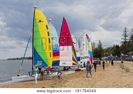 REDCLIFFE, AUSTRALIA - APRIL 14, 2017: The Redcliffe Festival of Sails is an annual event which takes place on Good Friday on the foreshore of Suttons Beach on the Redcliffe Peninsula