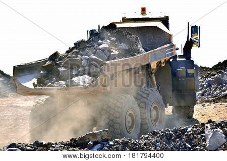 heavy construction dumper at work In the dust