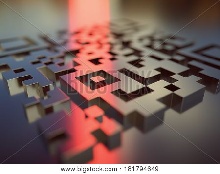 3D illustration. Quick response code (QR Code) in 3D dimension that reflects the red light reader.
