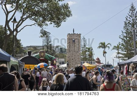 REDCLIFFE, AUSTRALIA - APRIL 14, 2017: The amusement park at Suttons Beach during the Redcliffe Festival of Sails an annual event which takes place on Good Friday