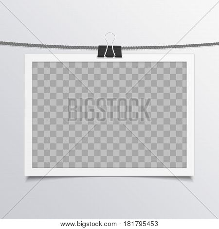 Vintage, blank photo frame with shadow effects hanging on rope. Single, old Photo Card for your picture. Vector illustration in realistic style. EPS 10.