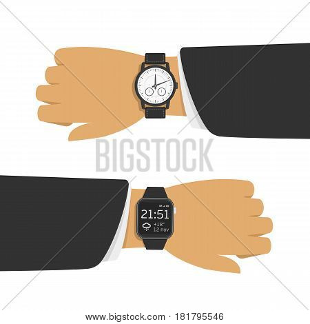Smart watch and analog watch on businessman hand. Two different types of watches on the arm. Vector illustration in flat style. EPS 10.
