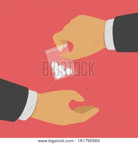 Man gives drug pills to another man. Vector illustration of selling or buying drugs. Dope trafficking, crime, addiction and sale concept. EPS 10.