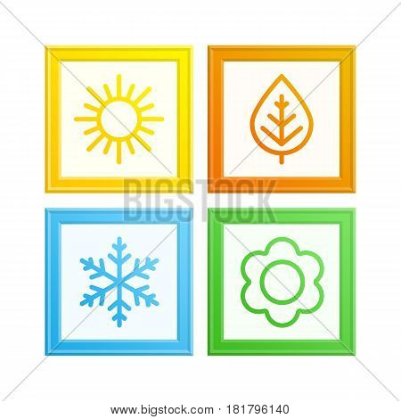 A set of colorful photo frame with icons of seasons. The seasons winter, spring, summer and autumn. Weather forecast sign. Season gallery concept. Vector illustration in flat style. EPS 10.