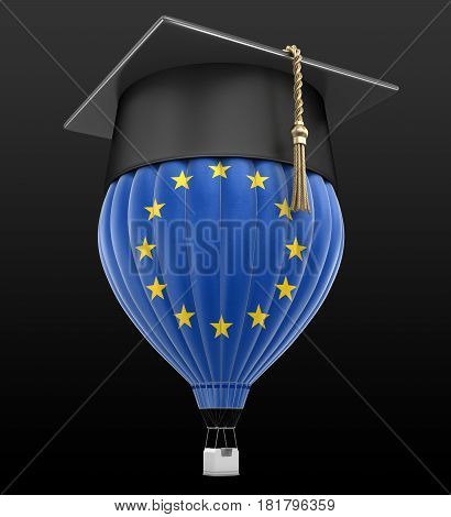 3d Illustration. Hot Air Balloon with Europian Union Flag and Graduation cap. Image with clipping path