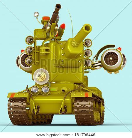 Cartoon Super Tank. Science Fiction Military Equipment. 3D Illustration. Blue Background.