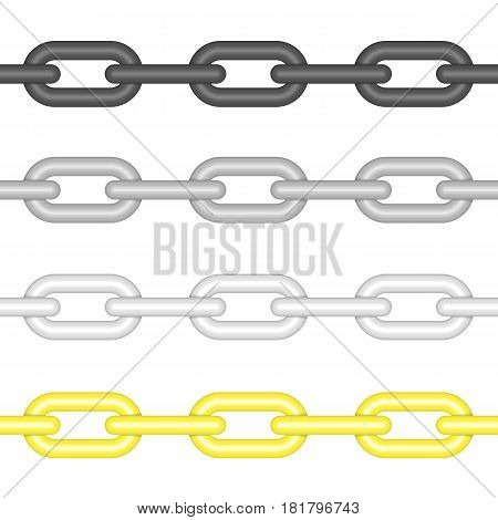 Different colors seamless chain link collection in realistic style. Gold, silver, and steel chainlet set isolated on white background. Vector illustration. EPS 10.