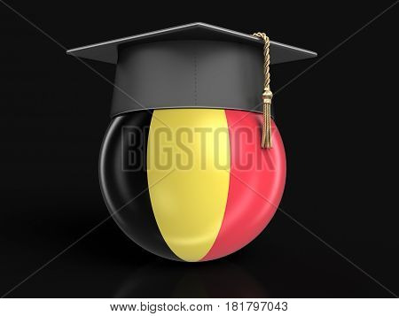 3d Illustration. Graduation cap and Belgian flag. Image with clipping path
