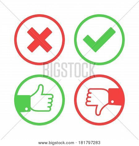 Confirm and reject icon set. Yes or No validation button collection. Thumbs up and down mark in flat style. Green tick, red cross signs for websites or applications, highlight selection. Vector EPS 10