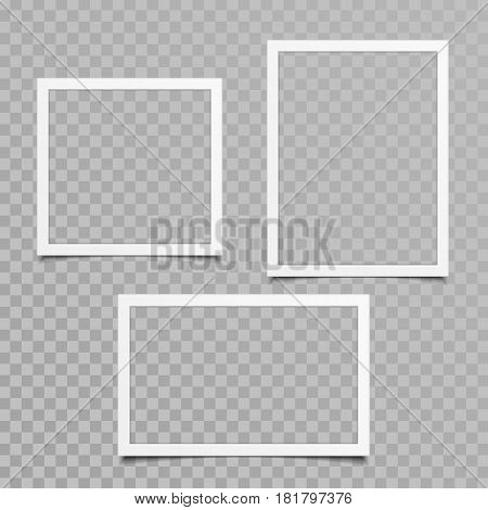 Set of blank photo frames with shadow effects isolated on transparent background. Vintage photos frame for your picture. Vector illustration in realistic style. EPS 10.