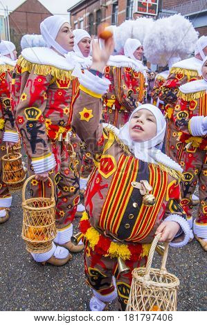BINCHE BELGIUM - FEB 28 : Participants in the Binche Carnival in Binche Belgium on February 28 2017. The Binche carnival is included in a list of intangible heritage by UNESCO.