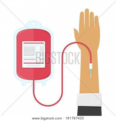 Blood donation design, medical and healthcare concept. Bag with tube, hand male donor. Vector illustration. EPS 10.