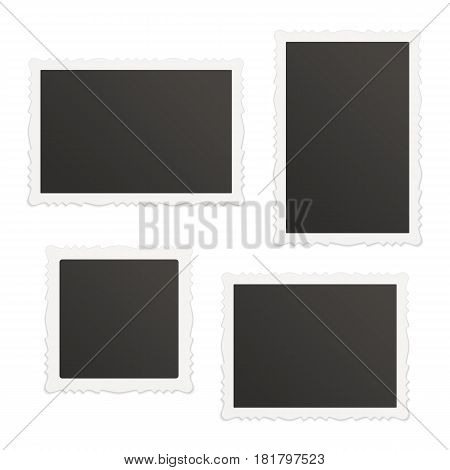 Collection of vector blank photo frames with shadow effects isolated on white background. Set different sizes vintage photos frame for your picture.