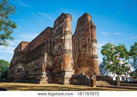 Ancient City of Polonnaruwa, photo of a Buddha statue at Lankatilaka Gedige, UNESCO World Heritage Site, Sri Lanka, Asia