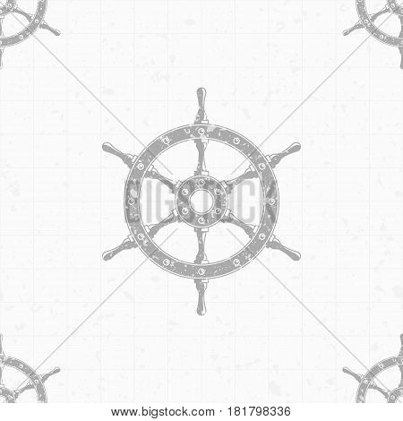 Ship steering wheel seamless background. Nautical theme. Texture for wallpaper, pattern fills, web page backdrop or fabric. Old rudder, Marine pattern. Vector illustration. EPS 10.