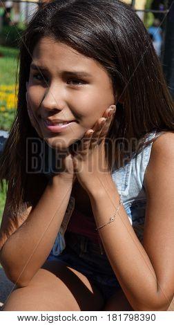 An Adorable Young Teen Peruvian Girl Smiling