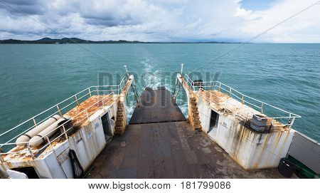 The ferry to Koh Chang in Trat Province in Thailand. Photo taken rearward with the mainland on the horizon.