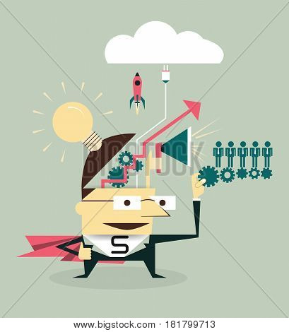 Vector Super Businessman ( boss or manager ) planning big idea for organization. Business concept for success business, versatility, manage, competence, efficiency, management