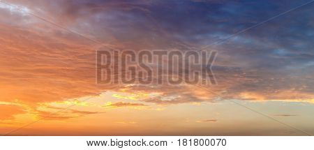 sunset sky with clouds and golden light, sunset sky gradient background