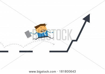 Vector cartoon. Businessman running and jumping on business line graph. Business investment, success concept.