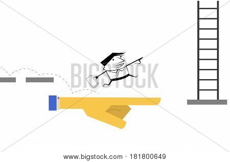 Vector cartoon. Business man running and jumping on hand of boss to the stair. Way to success, Business Opportunity concept