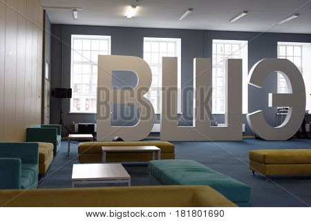 ST. PETERSBURG, RUSSIA - SEPTEMBER 3, 2015: Interior of a hall in the new academic building of the local campus of Higher School of Economics. St. Petersburg campus of HSE was founded in 1998