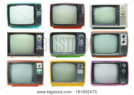 Set of retro television - Old vintage TV isolate on white retro technology.