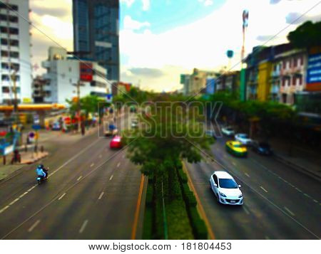 Panoramic View of,  Traffic in the capital , Tilt-shift effect applied