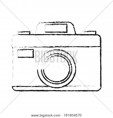 photographic camera icon image vector illustration design with black sketch line