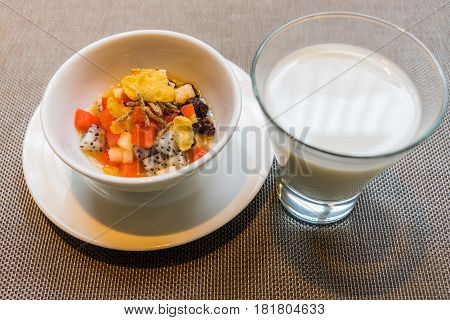 Useful Homemade Fruits Salad, Bowl Of Cereal And Healthy Breakfast