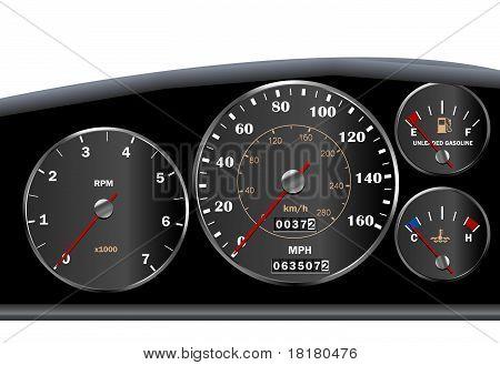 Car dashboard speedometer for motor or sportscar