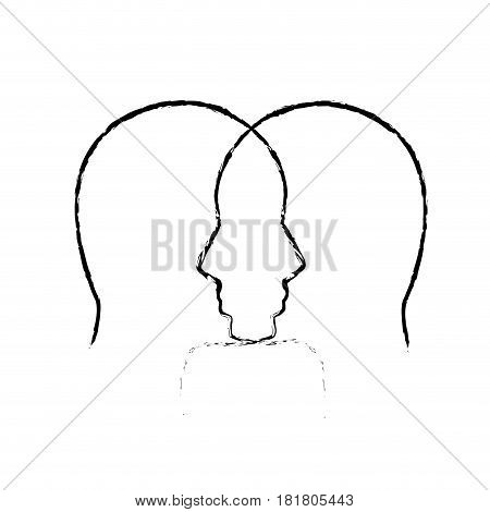 contour mental health person with gears, vector illustration