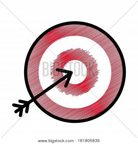 flat icon arrow hitting a target, vector illustration