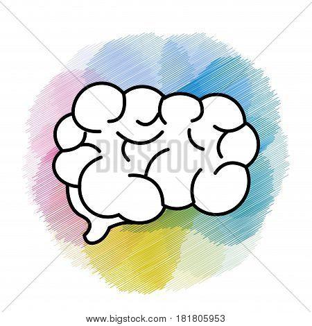 watercolor mental health smart brain icon, vector illustration design