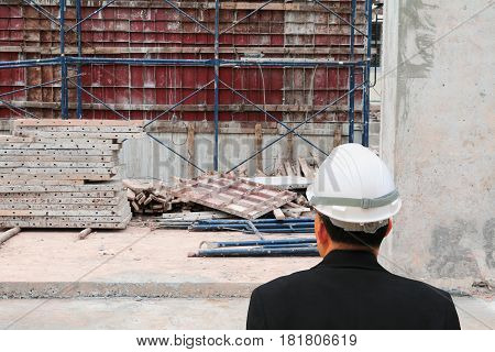 architect-engineer check work construction in a building site