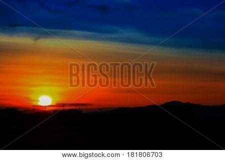 sunset beautiful colorful landscape in blue sky evening nature twilight time