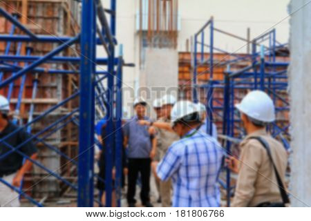 blur focus of engineering in construction building